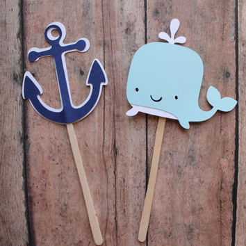 Whale and Anchor Cupcake Toppers - Navy and Baby Blue, Whale anchor, ahoy showers, baby showers, shower cupcakes, its a boy, nautical party