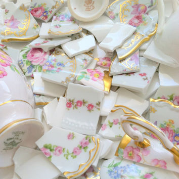100 Vintage China Floral Tiles and Teacup Focals Some Limoges Hand Cut Mosaic Tiles Art Deco DIY Shabby Chic Upcycled Mixed Media