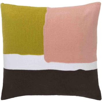 Harvey Pillow ~ Lime/Pale Pink/Dark Brown