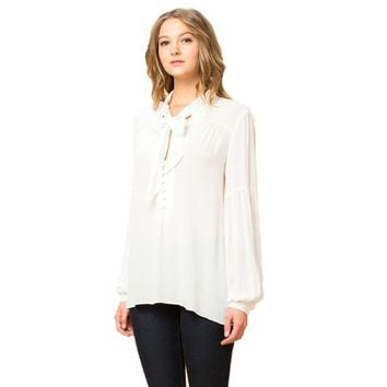Tie Front Long Sleeve Blouse, White