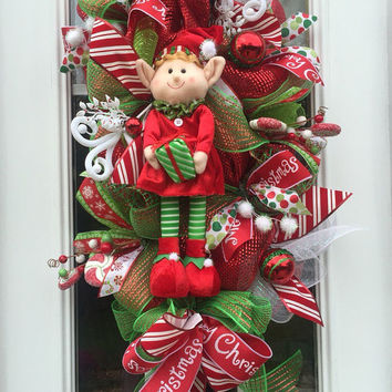 Christmas Deco Mesh Wreath, Christmas mesh wreath,elf Wreath,holiday wreath, christmas wreath, front door wreath,double door wreath