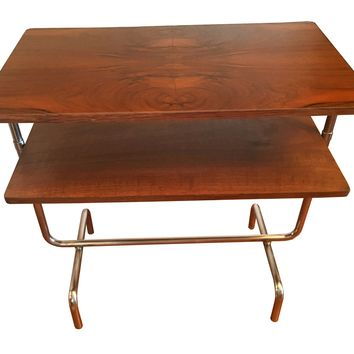 Vintage 1930's Bauhaus Table in Book Matched Walnut Veneer