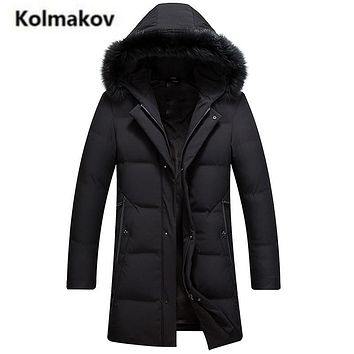 KOLMAKOV 2017 new winter high quality men's fashion hooded Fox fur collar down jacket,90% white duck down coat warm long parkas.