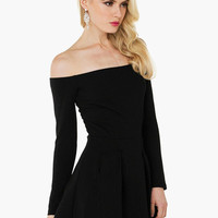 Black Off Shoulder Long Sleeve Casual Skater Dress