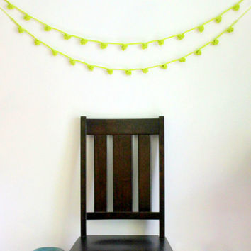 Lime Green Crochet Pom Pom Garland, Boho Garland, Lime Green Decor, Cottage Chic, Home Decor, Dorm Decor, Gifts for Her, Wedding