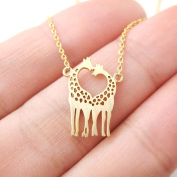 Kissing Giraffe Animal Shaped Silhouette Charm Bracelet in Gold | DOTOLY