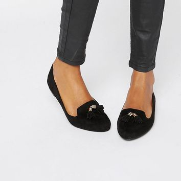London Rebel Metal Trim Tassle Soft Slipper Shoes at asos.com