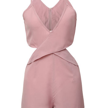 Pink V Neck Cut Out Sexy Back Jumpsuit