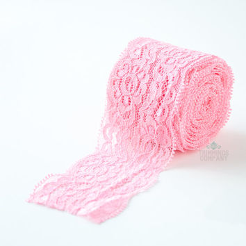 """2"""" inch Pink Elastic Flower Lace Trim Ribbon - Wholesale 5 or 10 yards"""
