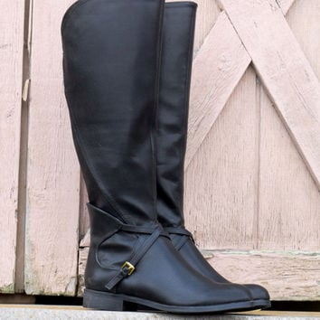 Very Volatile Cabernet Black Riding Boot With Cross Strap Accents