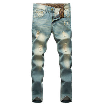 2016 Hot Sale Fashion & Casual Men's Jeans Hole Ripped Jeans Men Hiphop Pants Straight Jeans For Men Denim Trousers