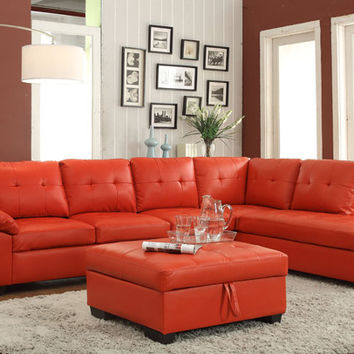2 pc emily ii collection red faux leather sectional sofa set with tufted seat and backs