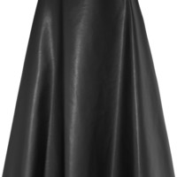 Lanvin - Fluted faux leather midi skirt