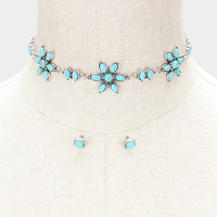 "Copy of 13"" turquoise flower link choker bib Necklace .25"" earrings"