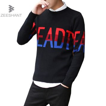 Zeeshant Mens Pullover Sweater Basic Classic Sweaters Letter Knitted Pattern Christmas Sweaters in Men's Pullovers XXXL