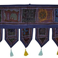 Home Decorative Traditional Embroidery & Mirror Work Door Hanging Tapestries 39 x 19 Inches