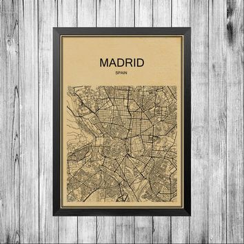 Coated paper print Retro poster MADRID City street road map abstract wall sticker bar cafe pub living room bedroom house decor