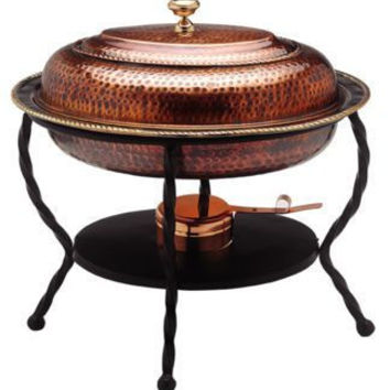 16.5 x 12.5 x 18 Oval Antique Copper Chafing Dish 6 Qt