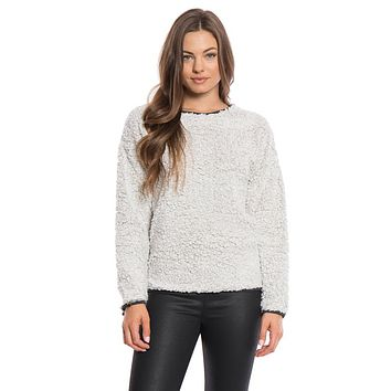 Solid Frosty Tipped Drop Shoulder Crew Sweater in Putty by True Grit (Dylan) - FINAL SALE