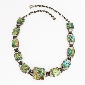 Abalone Sterling Silver Necklace Vintage 1930s Choker Square Links Shells Blues Greens Pearlescent Inlay Signed STG Gift for Her