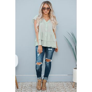 Back In Town Ruffle Top (Light Blue)