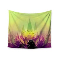 "Pia Schneider ""Trees Under Magic Mountain"" Yellow,Nature Wall Tapestry"