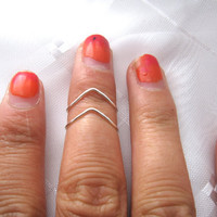 Silver Chevron Knuckle Rings