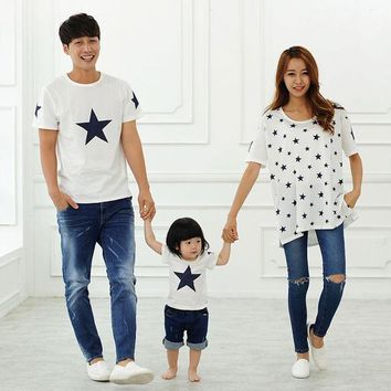 2016 cotton t shirt star mother and daughter clothes son father matching family clothing family look t-shirt