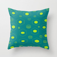 Teal Lime Indoor Throw Pillows Teal Lime Pillow Cover Retro Teal Lime Pillow Hexagon Pattern Pillow Lime Hexagon Pillow Teal Hexagon Pillow