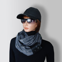 Infinity Scarf Blue Gray Black Men Women Unisex very Soft Polyester Scarf Cozy Cowl with Natural Leather Cuff by Elena Joliefleur