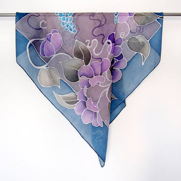 Square scarf Muscari and Morning Glory scarf - purple flowers gray blue handpainted scarves - Grape Hyacinth - Neckerchief bandana Neckband
