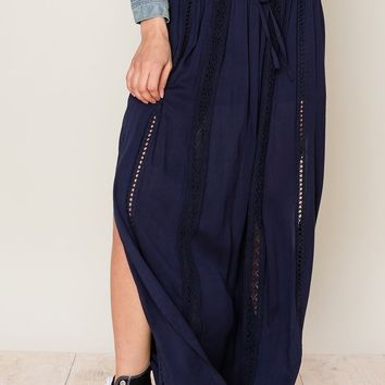 Drawstring maxi skirt with crochet detail and lace up waist