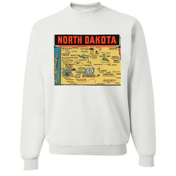 Vintage State Sticker North Dakota Crewneck Sweatshirt