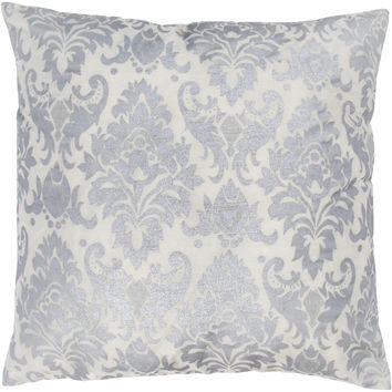 "Printed Pattern Silver Pillow Cover (18"" x 18"")"