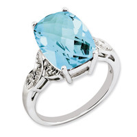 Sterling Silver Blue Topaz Ring: RingSize: 6