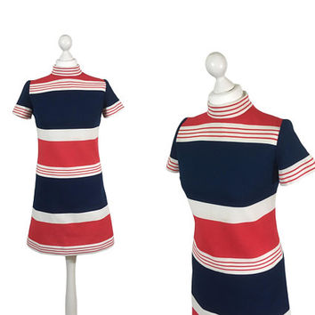 Leslie Fay Original Vintage Dress | 1960's Mod Dress | 60's Dress | Red White And Blue | Striped Mini Dress