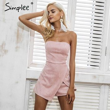 Simplee Strapless leather suede  slim pink playsuit Elegant autumn female overalls (irregular)