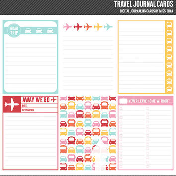 Travel Digital Journal Cards - 3x4 project life inspired printable scrapbooking journaling note cards  - instant download - CU OK