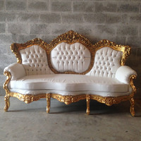 Baroque Tufted Settee Antique Italian 5 Piece Available Throne Chair Bergere Sofa Couch Gold Leaf Gild White Leather Rococo Louis XVI Carved