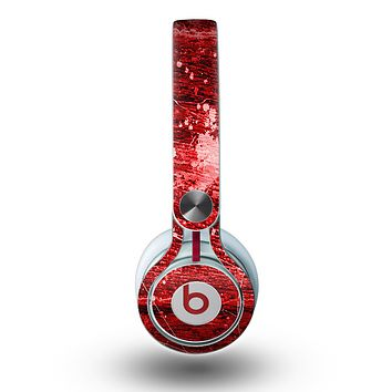The Red Grunge Paint Splatter Skin for the Beats by Dre Mixr Headphones