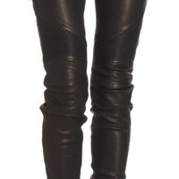 Balmain Leather Biker Jeans at Barneys.com