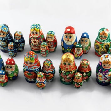 Lot of 8 Matryoshka Russian Nesting Doll Nested Wooden Babushka Dwarves Beautiful Set 3 Pieces Pcs Hand Painted Handmade Souvenir Handicraft