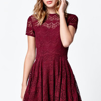 Kendall and Kylie Short Sleeve Allover Lace Dress at PacSun.com