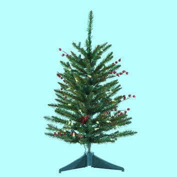 Artificial Christmas Tree - 2 Ft. - 108 Tips With 50 Clear Mini Lights