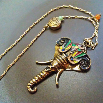Long Elephant Necklace - Boho Chic Thin Metal Antique Gold Chain, with Multicolored Elephant Pendant, Orange, Turquoise, Brass Bead