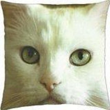 A white cat - Throw Pillow Cover Case (18