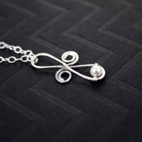 Sterling Silver Infinity Pendant, Swarovski pearl wire wrapped design. Necklace, Chain Included