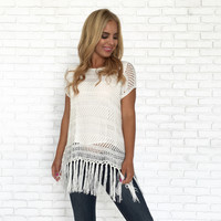 Survival Fringe Knit Top In Ivory