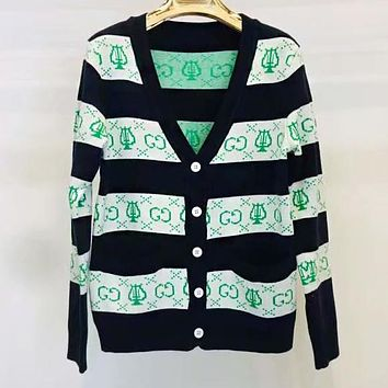 GUCCI New Hot Sale Women Leisure Black White Stripe Long Sleeve V Collar Button Cardigan Jacket Coat
