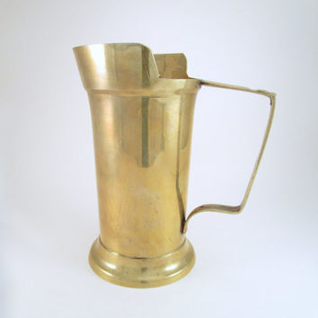 Vintage Handled Brass Tankard, Tall Brass Flower Vase, Unique Summer Patio Decor, Brass Barware, Bar Straw Caddy, Kitchen Utensil Holder
